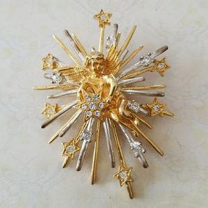 Vintage Starburst Angel Inspirational Brooch Pin